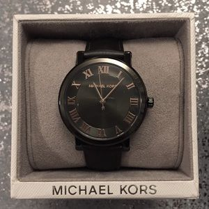 Michael Kors Leather Watch with Rose Gold Details